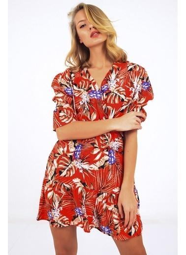 Emjey Kruvaze Yaka Kolu Lastikli Elbise Kırmızı